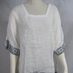 MONORENO White Top Tunic 100% Linen Sheer Small